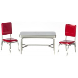 1950 RED & SILVER STYLE TABLE SET