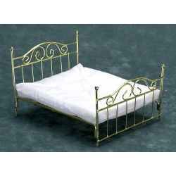 BRASS DOUBLE BED W/MATTRESS