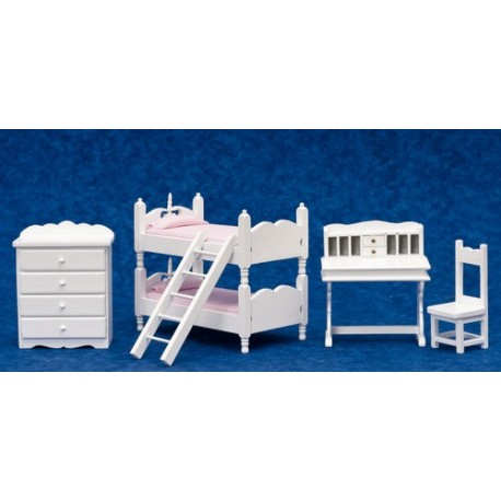 BUNKBED SET, 5, PINK PABRIC, WHITE