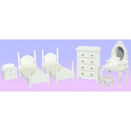 TWIN BEDROOM SET/6/WH/CS