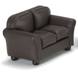 &CLA10867: LOVESEAT, BROWN LEATHER