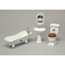 PORCELAIN BATH SET, 4PC, W/LFLOWERS