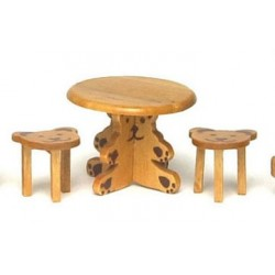 SMALL TABLE W/2 BEAR STOOLS