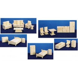 TOY FURNITURE, 5 ROOM SET