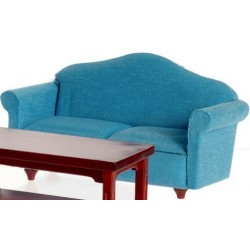 SMALL SOFA, BLUE, MAHOGANY
