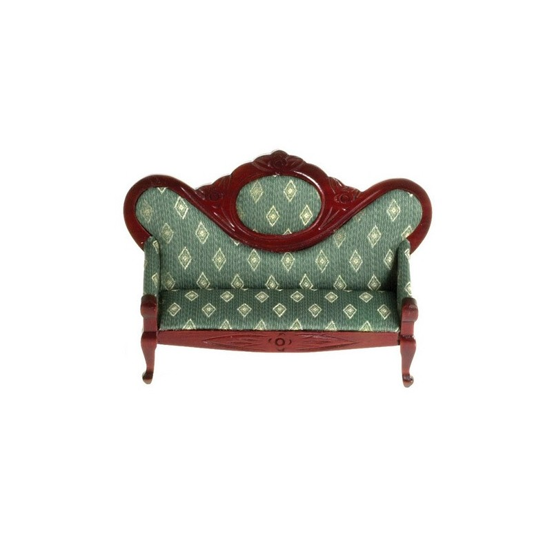 Victorian Sofa Green Diamonds Mahogany Dollhouse Sofa