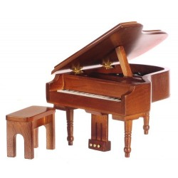 PIANO W/MUSIC/BENCH/WALN