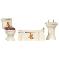 3Pc Modrn Bear Pnk Dec Bath