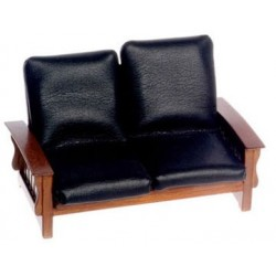 Black Leather & Walnut Sofa