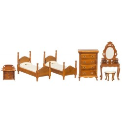 TWIN BEDROOM SET, 6PC