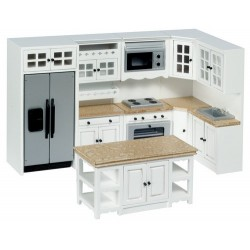 White & Marble Kitchen Set 8Pc