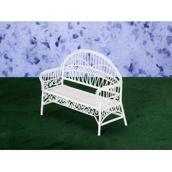 PATIO BENCH/WHITE WIRE/CB