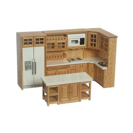 modern oak cabinet set 6 pc miniature dollhouse kitchen
