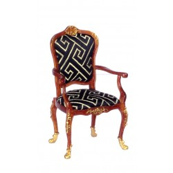 ARMCHAIR W/GOLD TRIM/WALN