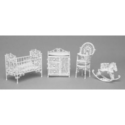 NURSERY SET, 4PC, WHITE WIRE