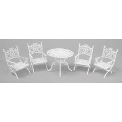 PATIO SET, 5PC, WHITE