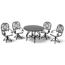 ROUND TABLE SET, 5PC, BLACK