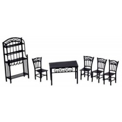 1/2 IN DINING SET, 6PC, BLACK