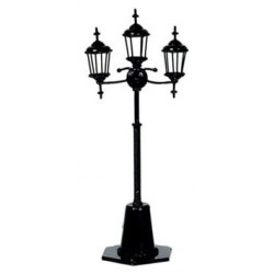 3-LAMP YARD LIGHT, BLACK