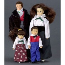 MODERN VICTORIAN DOLL FAMILY, 4PC, BRUNETTE