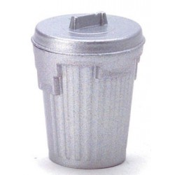 SILVER GARBAGE CAN/EMPTY