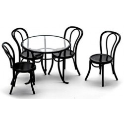 PATIO TABLE W/4 CHAIRS, BLACK