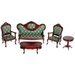VICT. LIVING ROOM SET, 5PC GREEN/MAHOG