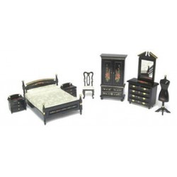 BEDROOM SET, 8PC, BLACK