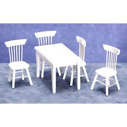 5PC TABLE/CHAIR SET, WHITE