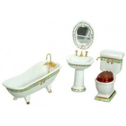 PORCELAIN BATH SET, 4PC, GREEN TRIM