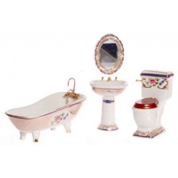 BATH SET OF 4, GOLD, FLORAL TR