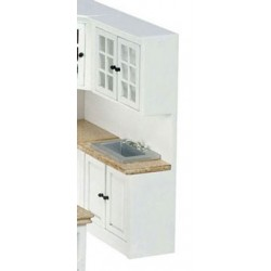 CABINET W/SINK, WHITE, MARBLE