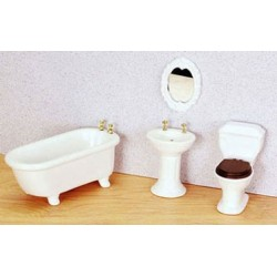 PORCELAIN BATH SET 4/PC, WHITE