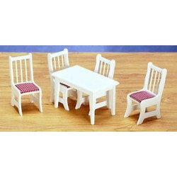 KITCHEN TABLE & CHAIRS, WHITE/RED