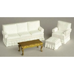 LIVING ROOM SET, 4PC, WHITE/WALNUT