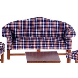 DARK PLAID SOFA, WALNUT