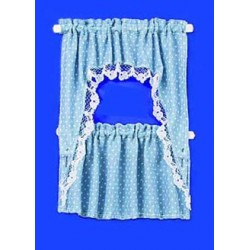 CURTAINS: RUFFLED CAPE, BLUE DOTS