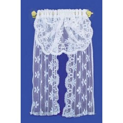 SINGLE WINDOW DRAPE, WHITE LACE