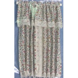 WINDOW DRAPE, FLORAL W/ LACE TRIM