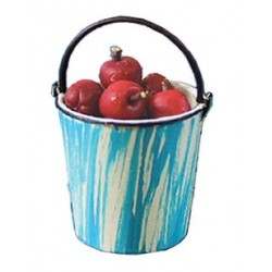 APPLES IN FLOW BLUE PAIL