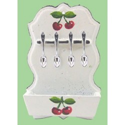 SPOON RACK W/CHERRY DESIGN 4 SPOONS