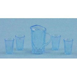 CRYSTAL PITCHER W/4 TUMBLERS, KIT, BLUE