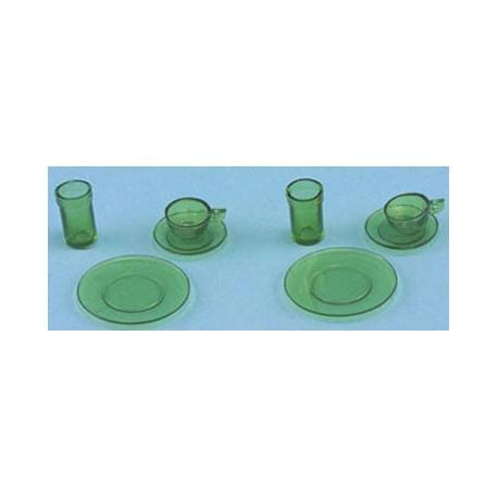 DISHES, GREEN, 8/PC