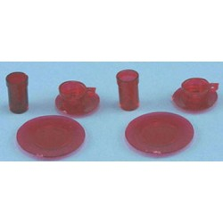 DISHES, RED, 8/PC