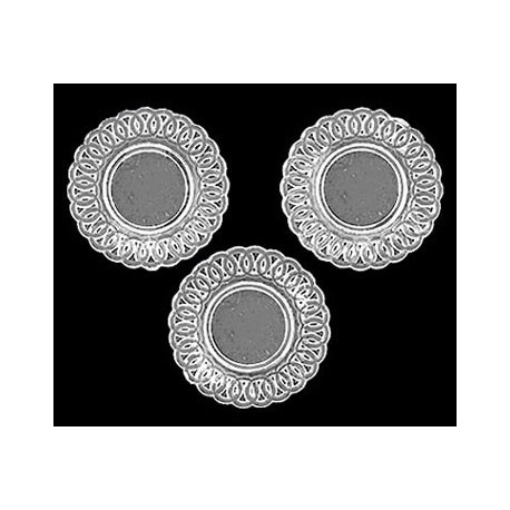 LACE-EDGED PLATES, 3PC CRYSTAL CLEAR