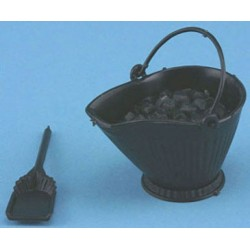 COAL SCUTTLE WITH SHOVEL & COAL