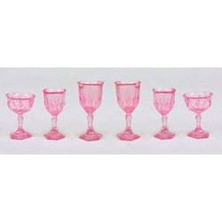 CUT STEMWARE, PINK, 6/PC