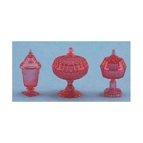 CANDY DISHES, 3PC, CRANBERRY