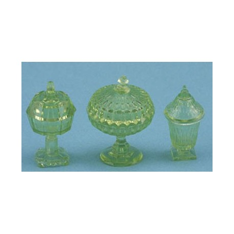 CANDY DISHES, 3PC GREEN