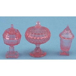 CANDY DISHES, 3PC PINK